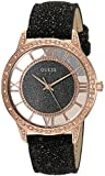 GUESS Women's Quartz Stainless Steel and Leather Casual Watch, Color:Black (Model: U1014L1)