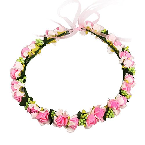 JustVH Exquisite Flower Crown Flower Headband Bridal Wreath with Adjustable Ribbon Hot Pink