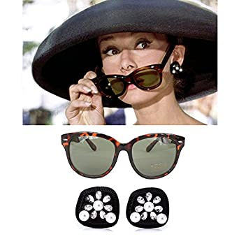 60s Costumes: Hippie, Go Go Dancer, Flower Child, Mod Style Audrey Hepburn-the Breakfast at Tiffany's Costume Black Earrings & Cat-eyed Tortoiseshell Sunglasses Accessories Set $34.99 AT vintagedancer.com