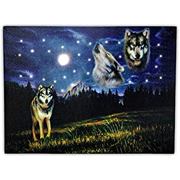 BANBERRY DESIGNS Wolf Canvas - Wolves Howling at The Moon - LED Lighted Pictures of Wolves in a Nights Sky - 3 Wolves at Night with a Northern Lights Background