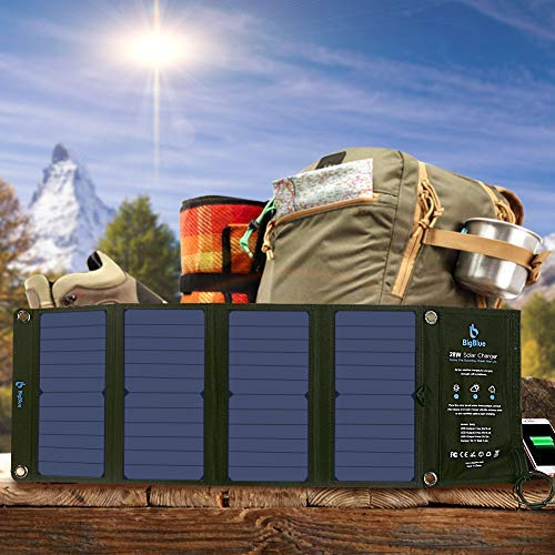 BigBlue 3 USB Ports 28W Solar Charger, 5V Foldable Waterproof Portable Solar Phone Charger for Outdoor Camping, With SunPower Solar Panel Compatible with iPhone X/8/7/6s, iPad, Samsung Galaxy LG etc.