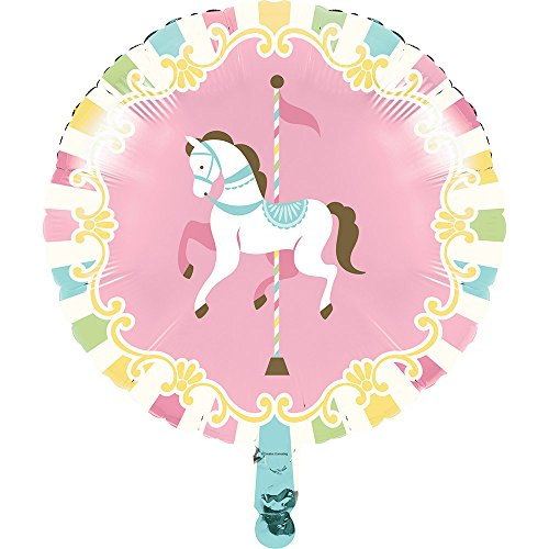 Creative Converting 329356 Carousel Horses 10-Count Metallic Round Balloons