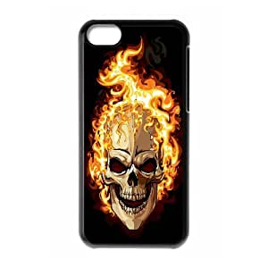 ZK-SXH - Flame Skull Diy Cell Phone Case for iPhone 5C, Flame Skull Personalized Phone Case