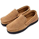 Men's Breathable Micro Suede Memory Foam Moccasins Slippers Plush Fleece Indoor/Outdoor Loafer Shoes w/Arch Supports (11 D(M) US, Tan)