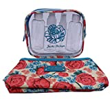 2 Piece Cosmetic Set - Airline Travel Bottle Set and Cosmetic Bag - Floral Rose