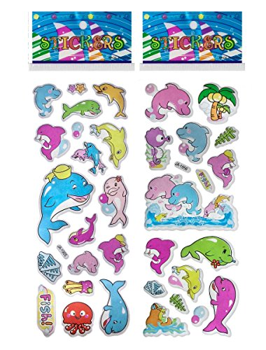 6 Sheets Puffy Dimensional Scrapbooking Party Favor Stickers + 18 FREE Scratch and Sniff Stickers - DOLPHINS