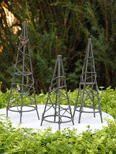 Miniature Dollhouse Fairy Garden Furniture Rustic Iron Set 3 Obelisk Trellis (Furniture Garden Obelisk)