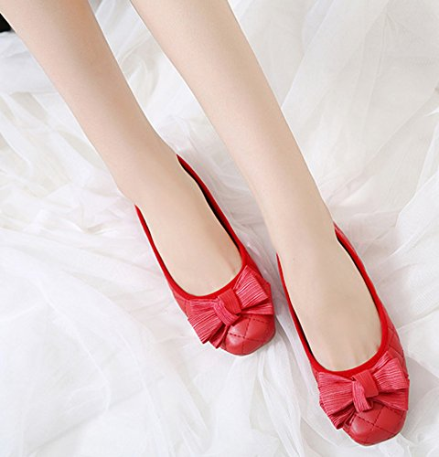 Aisun Women's Dressy Low Cut Square Toe Flat Loafers Red yrGJO