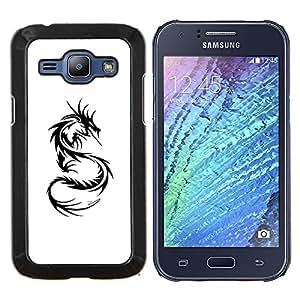 Eason Shop / Premium SLIM PC / Aliminium Casa Carcasa Funda Case Bandera Cover - Dragon Tattoo Negro blanco del arte - For Samsung Galaxy J1 J100