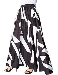 Women Chiffon Mopping Floor Length Big Hem Solid Beach High-Waist Maxi Skirt