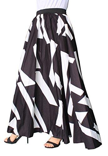 (Afibi Women Chiffon Mopping Floor Length Big Hem Solid Beach High-Waist Maxi Skirt (XX-Large, Black 3))