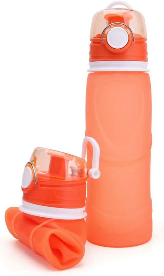 LINDANIG Botellas de agua plegables y plegables Botella de agua de silicona de grado médico, Juegos de tazas enrollables para exteriores, Senderismo, Camping, Ciclismo corriendo y viajando, libre de B