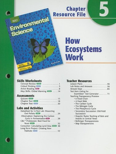 Holt Environmental Science Chapter 5 Resource File How