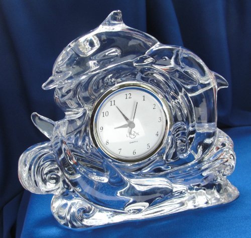 Lenox Full Lead Crystal Dolphin Clock Shiny Nautical Art Glass Silver
