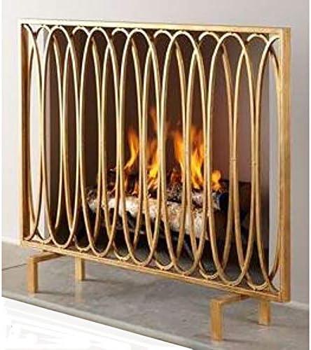 大型錬鉄スパークガード、シングルパネルゴールド暖炉スクリーン、子供用防火安全フェンス、屋内パーティション装飾、高さ78cm