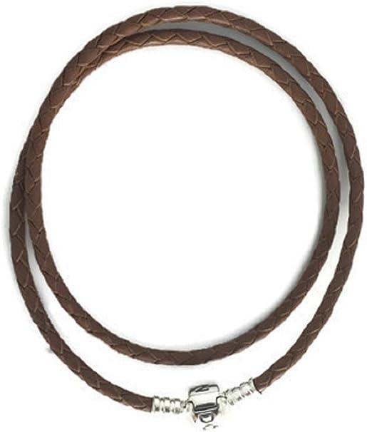 Amazon.com: Pandora Brown Braided Double-Leather Charm Bracelet ...