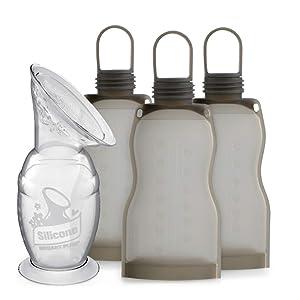 Haakaa Manual Breast Pump and Reusable Breastmilk Bags Set 4 PK - Pumping & Breastfeeding Essentials, New Mom Gift Idea,BPA Free, 100% Food Grade Silicone
