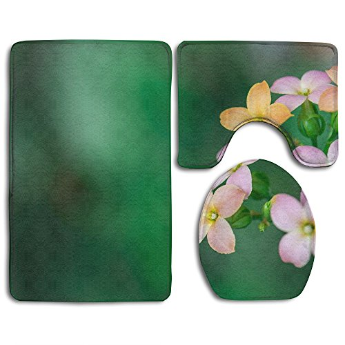 NEW Pink Four-petal Wild Flowers 3 Piece Bathroom Mats Set Non-Slip Bathroom Rugs/Contour Mat/Toilet (4 Piece Petal)