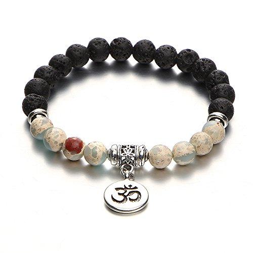 - 17mile Volcano Bead Natural Stone Yoga Bracelet Gemstone Essential Oil Stretchable Bracelet Gifts for Unisex