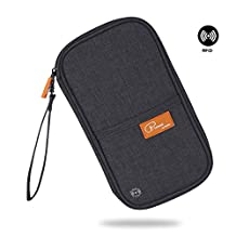 RFID Blocking Travel Passport Wallet Family Passport Holder Document Organizer Waterproof Ticket Holder Journey Case(Black)