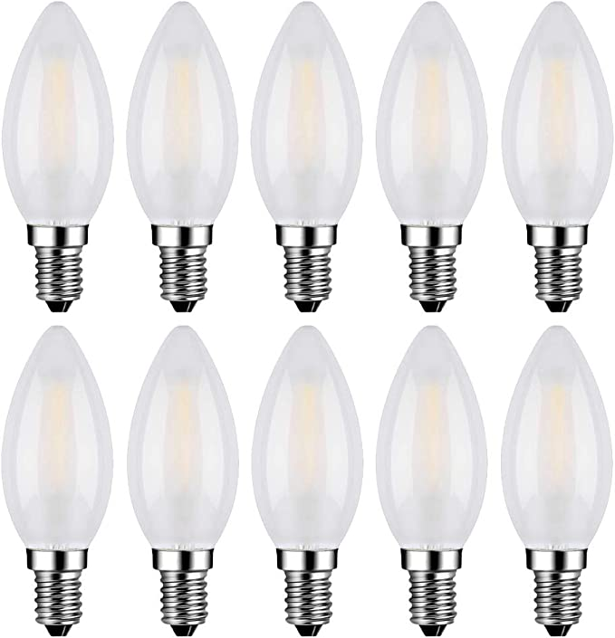 MENTA Bombillas Filamento LED E14 en Forma de Vela, Incandescente Equivalente a 40w, Blanco frío 6500k 4W, Casquillo Fino E14 SES, AC 200-240V, Pack de 10 Unidades: Amazon.es: Bricolaje y herramientas