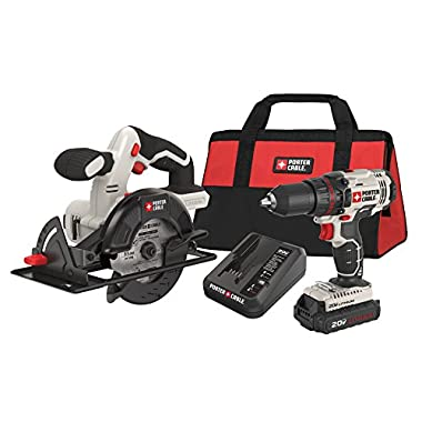 PORTER-CABLE PCCK612L2 20V Max 1/2  Drill/Driver and 5 1/2  Circular Saw Kit
