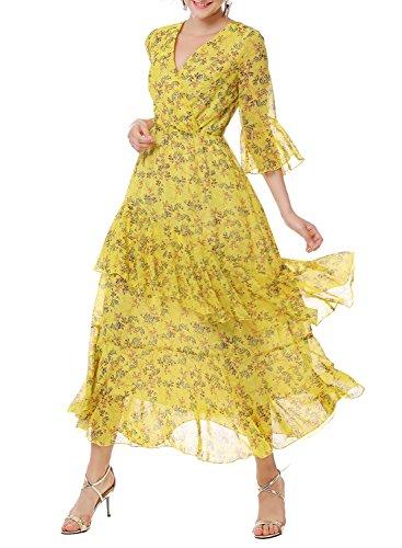 Ranphee Womens Floral Maxi Dress-Yellow V Neck High Waist Long Chiffon Beach Summer Dresses