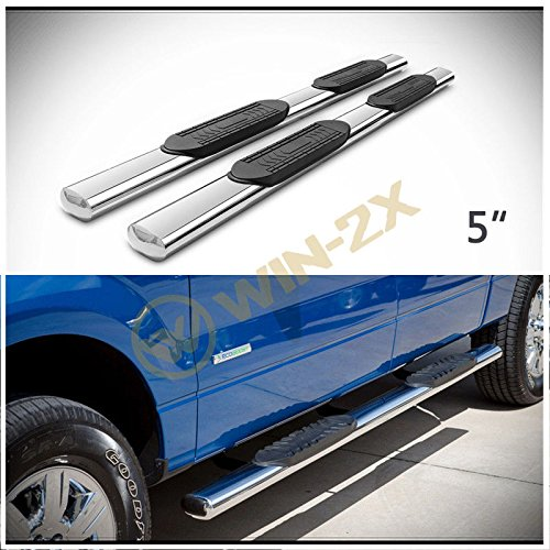 "WIN-2X 2pcs 5"" Oval Tube Chrome Stainless Steel Side Step Nerf Bars Running Boards + Brackets Fit 15-18 Ford F150 17-18 F250/F350/F450/F550 Super Duty Crew Cab 4 Full Size Doors"
