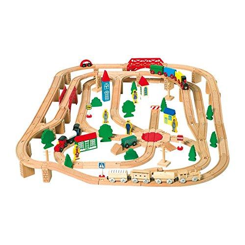 Holzeisenbahn mit 140 Teilen, mit vielen Schienen, inkl. Brücken, Stellwerk und Drehkreuz