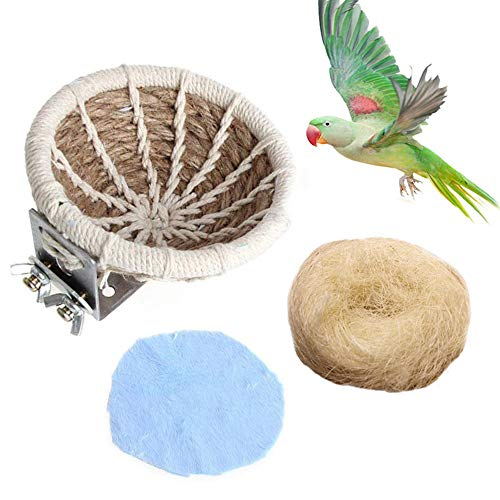 Kathson Hemp Rope Weave Bird Breeding Nest Bed for Parakeet Cockatiel Canary Lovebird and Small Parrot Cage Hatching Nesting Box (Bed Bird Nest)