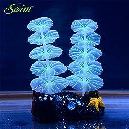 Saim Glowing Effect Artificial Plastic Plant for Aquarium Decor Fish Tank Ornament