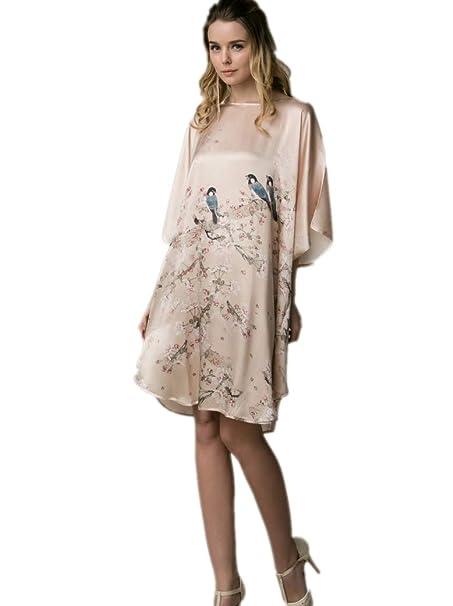 10a0d58def Prettystern - 100% Pura Seta Raso Crepe Kimono Pigiama Camicia da Notte  Lingerie YBP174