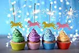 20 Horse Cupcake Toppers- Glitter Gold and Pink Decorative Food Picks