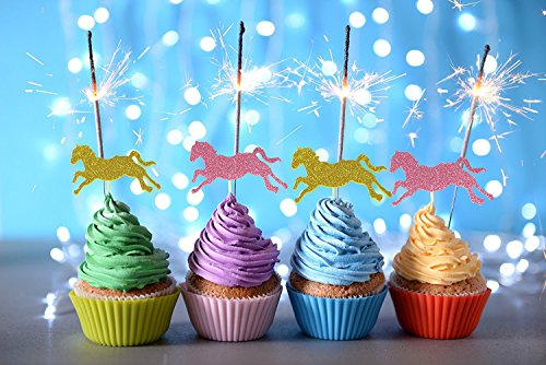 20 Horse Cupcake Toppers- Glitter Gold and Pink Decorative Food (Horse Cake Decorations)