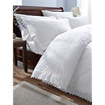 Super King Size Percale Duvet Cover Bedding Set, White, Balmoral