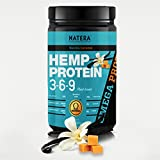 Best Hemp Protein Powder 369 (1 lbs) + Gingseng Vanilla Caramel NATERA Unique Patented Formula Fast Muscle Recovery | Vegan Plant Based Protein