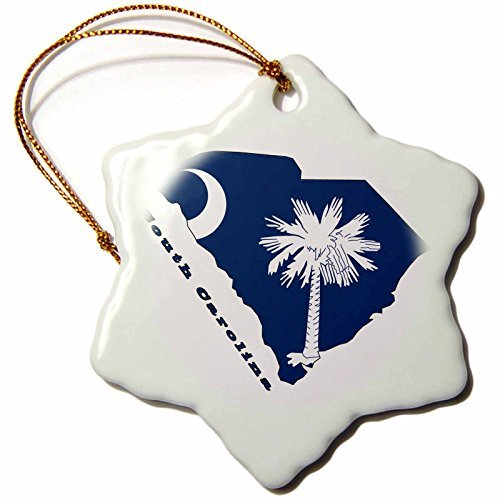 (58762_1 South Carolina State Flag in The outline Map and Letters for South Carolina Snowflake Decorative Hanging Ornament, Porcelain, 3-Inch)