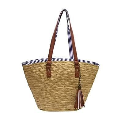 Sornean Summer Straw Beach Bag Handbags Shoulder Bag Tote,cotton lining,Top Leather Handle-Eco Friendly (Brown Medium)