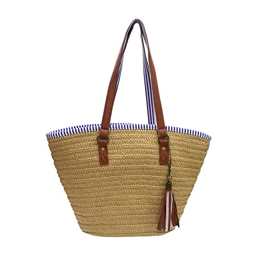 Sornean Summer Straw Beach Bag Handbags Shoulder Bag Tote,cotton lining,Top Leather Handle-Eco Friendly (Brown) (Tote Straw Purse)