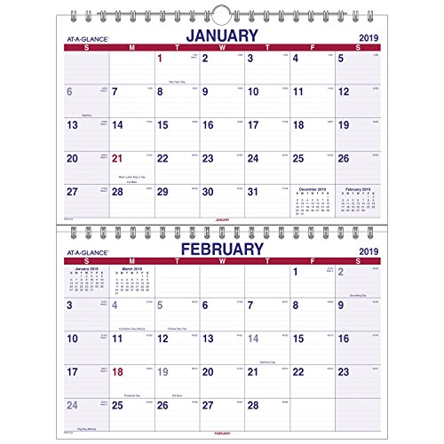 AT-A-GLANCE 2019 Wall Calendar, 2-Month Display, 22'' x 28-1/2'', XLarge, Wirebound, Move-A-Page (PMLF928) by AT-A-GLANCE