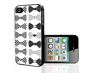 Black and White Stripes and Polka Dot Bows Hard Snap on Case (iPhone 4/4s)