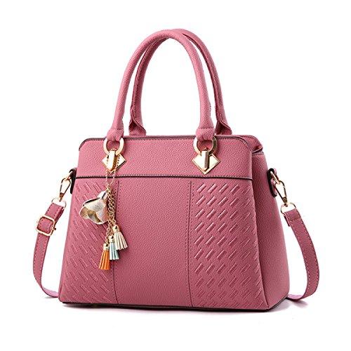 De Cuero Clásico Pink Pu 6 Cruzado Bandolera Mujer Colores Bolso Hombro PwndgFTqT