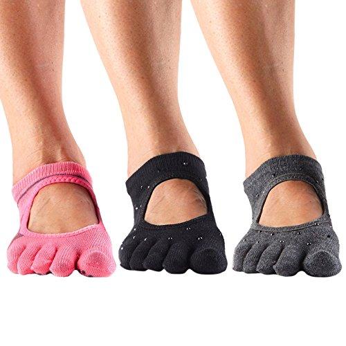 ToeSox Women's Full Toe Bella Grip Socks (Nightlife/Sultry/Derby, Small)