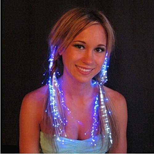 - Iumer LED Light-Emitting Fiber Optic Wire Hairpin Luminous Silk Braids Halloween Christmas Gift Party Headwear