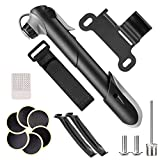 NAVESTAR Mini Bike Pump, Bicycle Pump with Tire Repair Kit - Fits Presta & Schrader & Sports Ball, Portable Cycling Pump for Road Mountain BMX Bike