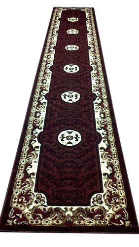 Americana Traditional Persian Oriental Long Runner Area Rug Burgundy Black Beige Design 101 (32 Inch X 19 Feet 8 Inch)