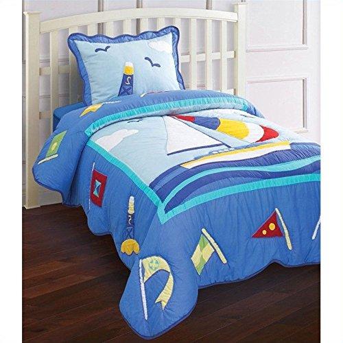 Hallmart Collectibles 47665 Ki-Young Attitudes Nantucket Key West Quilt Set, Full, 3-Piece Nantucket 3 Piece Set
