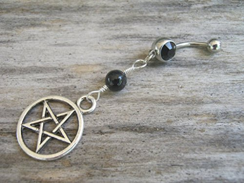 (Personalized Pentacle Belly Button Ring, Black Agate and Antiqued Silver Body Piercing Jewelry with Optional Birthstone, FREE USA SHIPPING)