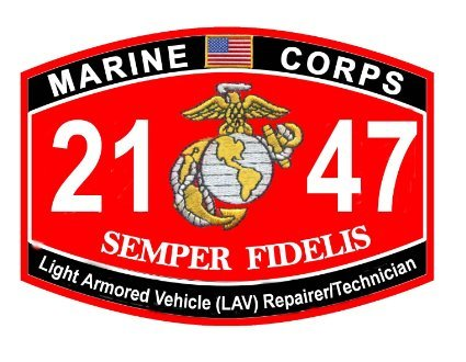 USMC MOS 2147 Light Armored Vehicle Repairer/Technician Decal (Marines Armored Vehicle)