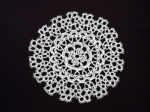 "Fennco Styles Handmade All-over Tatting Lace Tablecloth 100% Cotton (4"" Round Doily, White)"